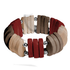 Ethnic natural white wood brown beige maroon combination wooden bangles
