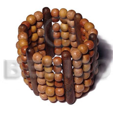 Natural elastic 6 rows 8mm wood wooden bangles