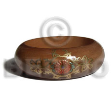 Fashion golden oak tone embossed wooden bangles