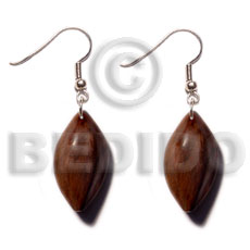 Philippine dangling 35mmx30mm bayong wood wooden earrings
