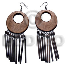 Handmade dangling 50mm round natural black wooden earrings