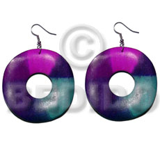 Ladies dangling 35mm round wavy wood wooden earrings