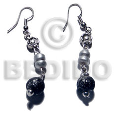 Ladies dangling wood beads and 4-5mm wooden earrings
